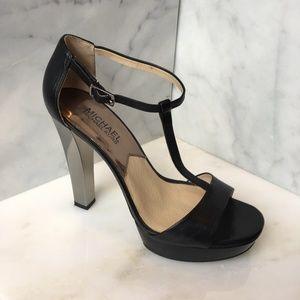 Michael Kors Black Leather Platform Sandal